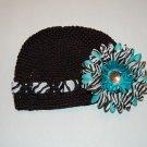Crocheted Kufi Hat, Black, Zebra Ribbon Accent, Turquoise Zebra Daisy . Sizes NB, SM, MED, LGE !