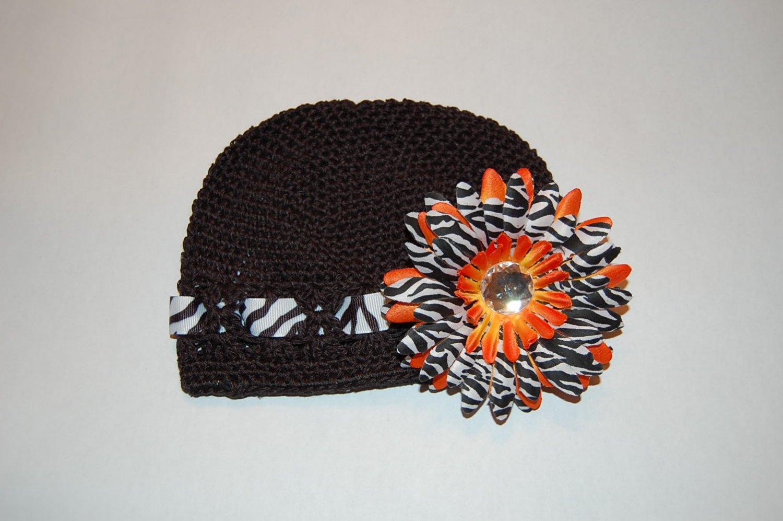 Crocheted Kufi Hat,Black, Zebra Ribbon Accent, Orange Zebra Daisy . Sizes NB, SM, MED, LGE