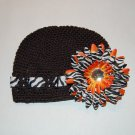 Crocheted Kufi Hat,Black, Zebra Ribbon Accent, Orange Zebra Daisy . Sizes NB, SM, MED, LGE