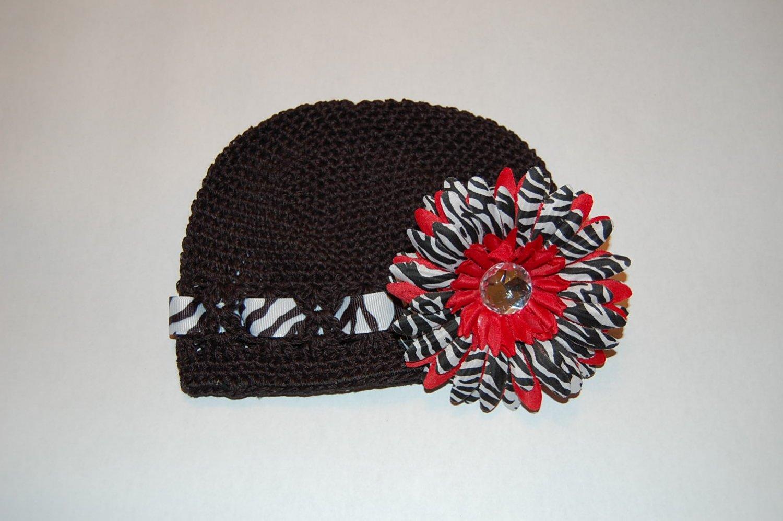 Crocheted Kufi Hat,Black, Zebra Ribbon Accent, Red Zebra Daisy . Sizes NB, SM, MED, LGE