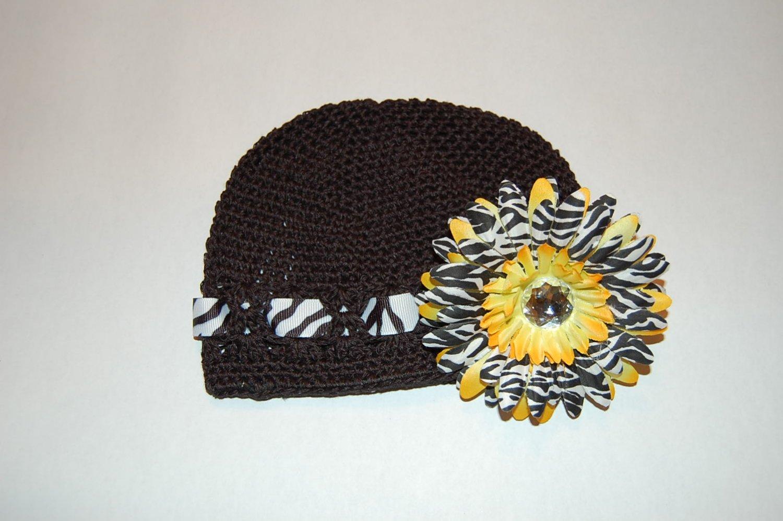 Crocheted Kufi Hat,Black, Zebra Ribbon Accent, Yellow Zebra Daisy . Sizes NB, SM, MED, LGE