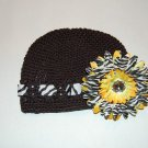 Crocheted Kufi Hat,Black, Zebra Ribbon Accent, Yellow Zebra Daisy . Sizes NB, SM, MED, LGE