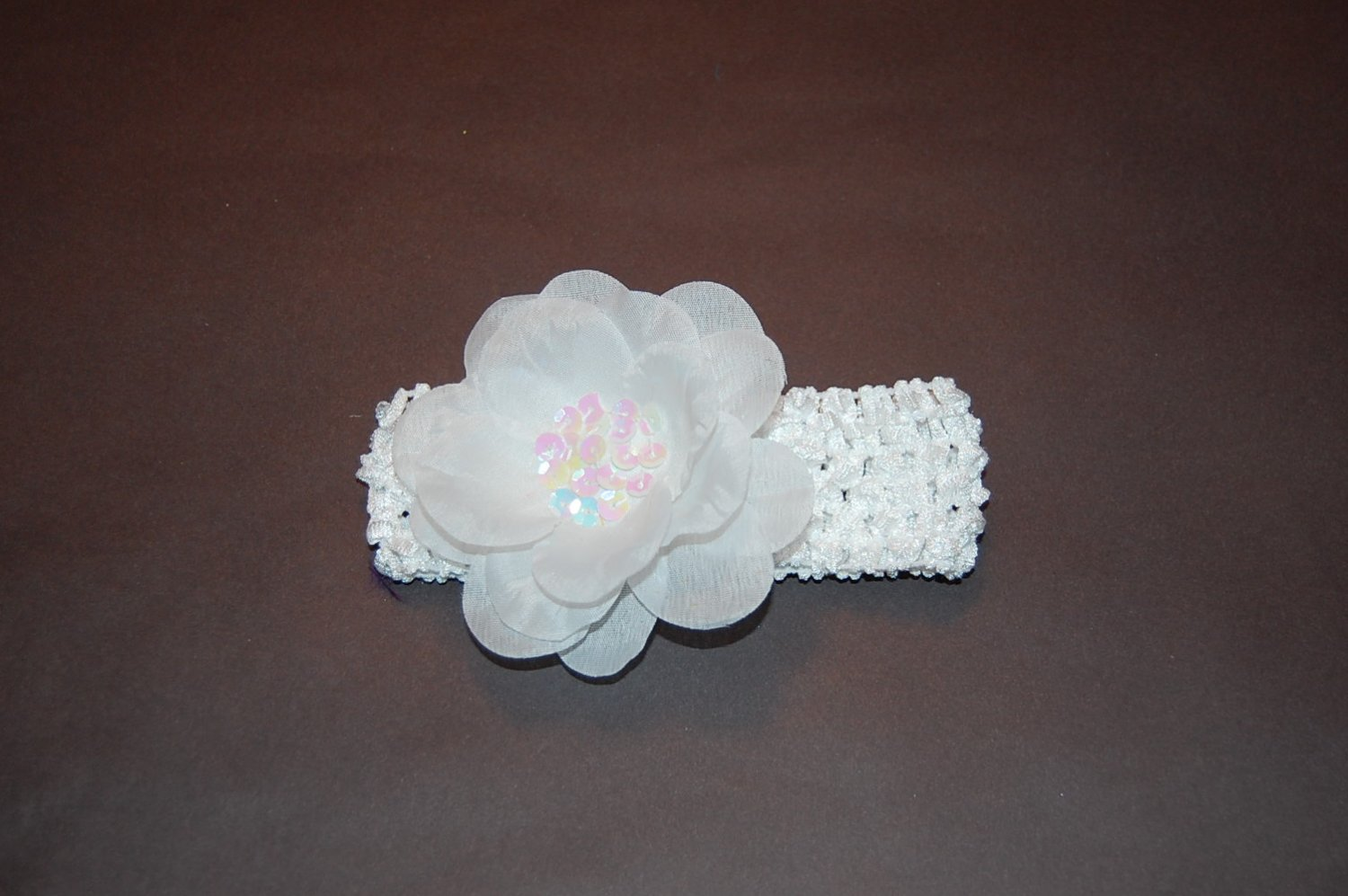 Sequined Flower, Crocheted Headband, White/White