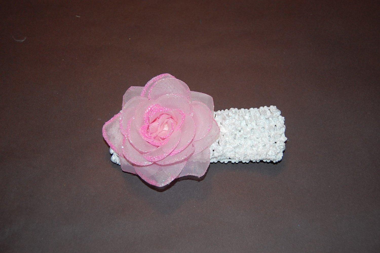 Glitter Rose, Crocheted Headband, Pink/White