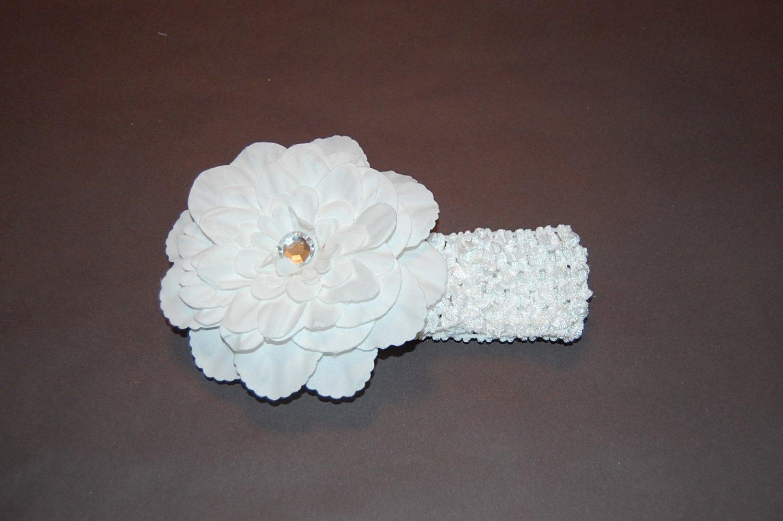 """4"""" Peony, Crocheted Headband, White/White"""