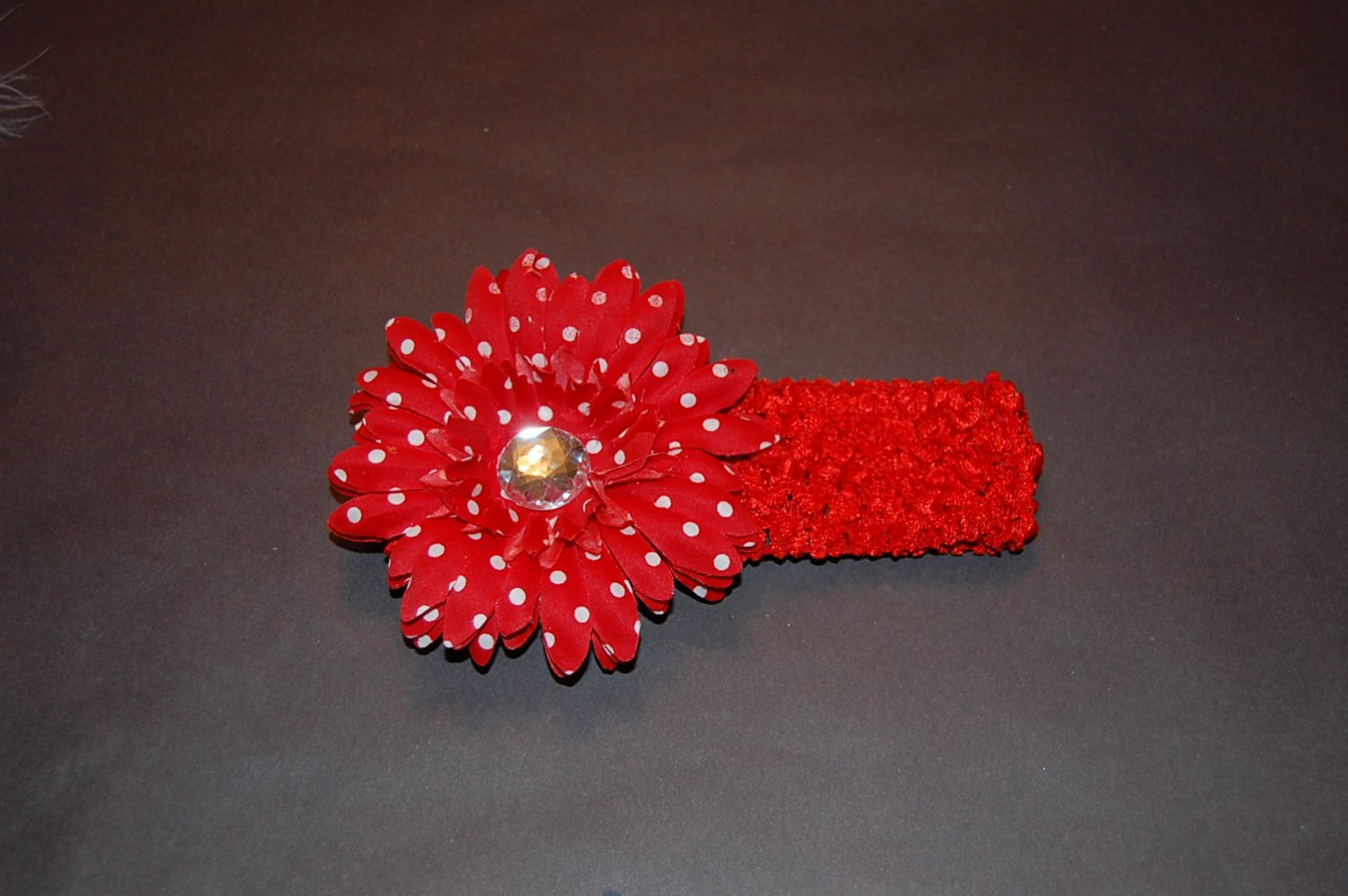 4' Layered Daisy, Crocheted Band, Red Polka Dot/ Red