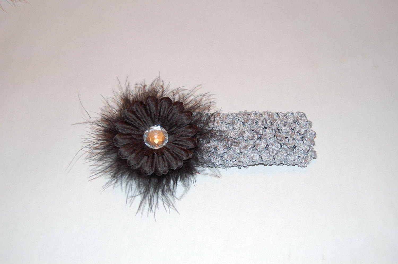 """2"""" Daisy, Marabou, Crocheted Headband, Black/Silver"""