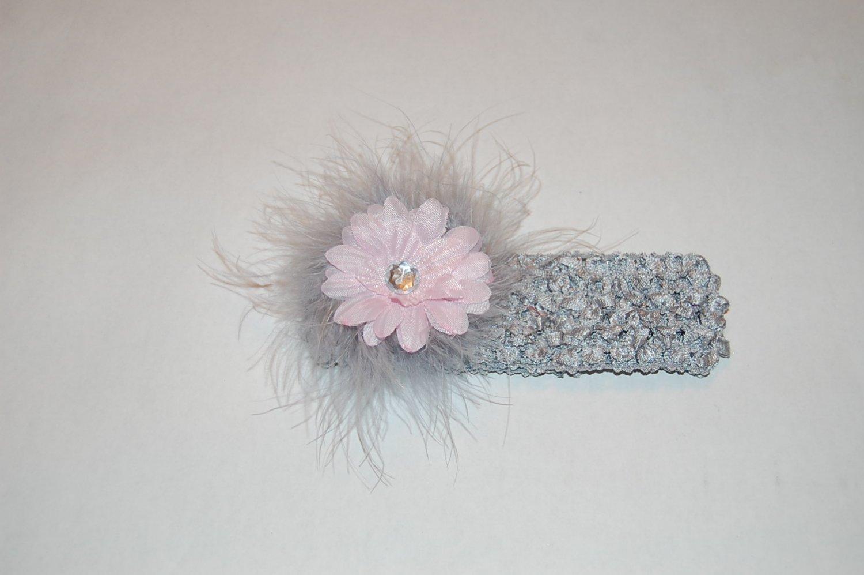 """2"""" Daisy, Marabou, Crocheted Headband, Pink/Silver"""
