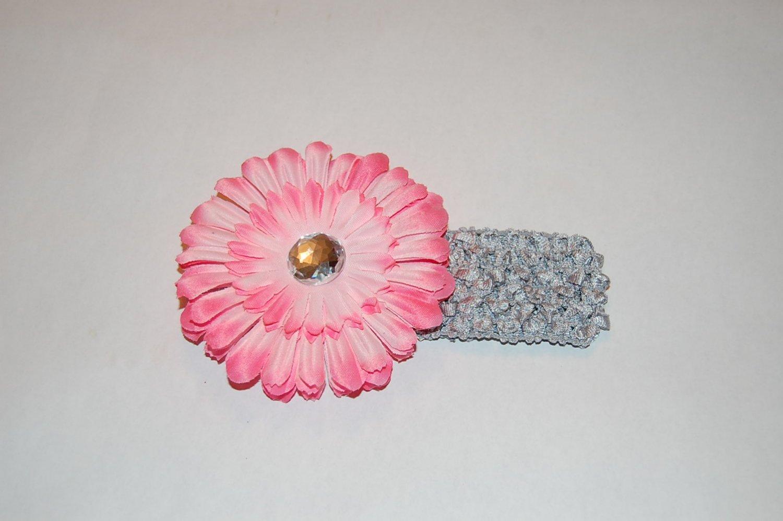 "4"" Flat Daisy, Crocheted Headband, Two Toned Pink/ Silver"
