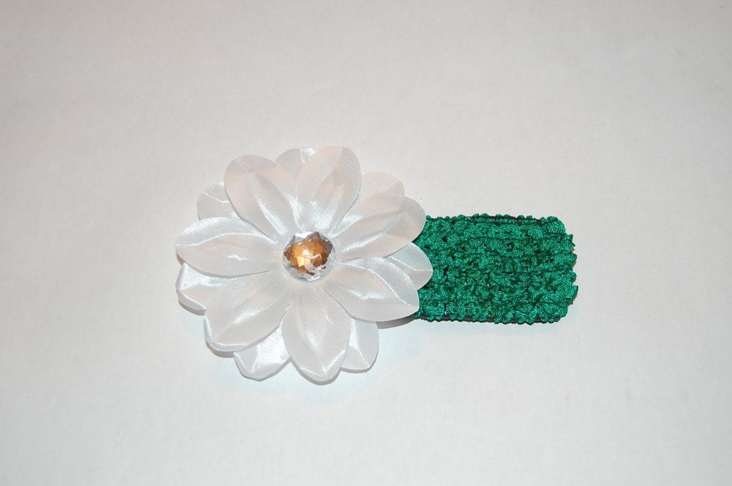 """4"""" Tropical Lilly, Crocheted Headband, White/ Green"""