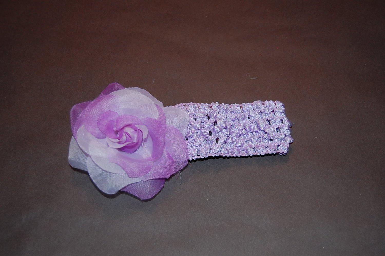 Ice Rose, Crocheted Headband, Lavender/Lavender