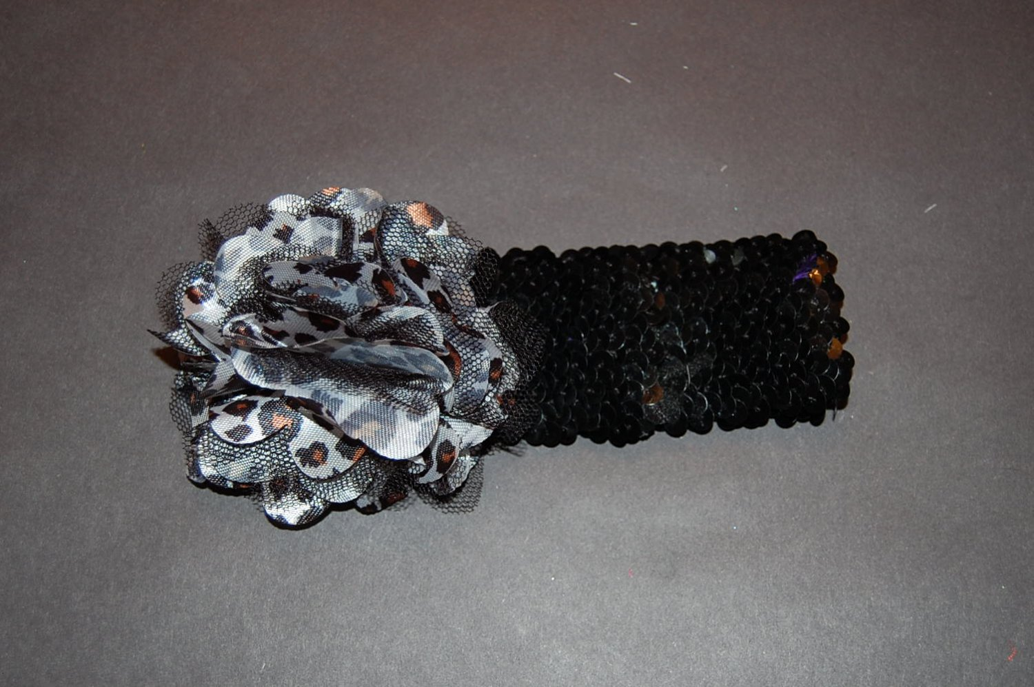 "Satin Mesh Flower, 2"" Sequin Headband, Leopard/Black"
