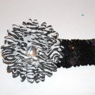 "4"" Layered Daisy, 2"" Sequined Headband, Black/White/Black"