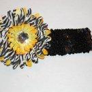 """4"""" Layered Zebra Daisy, 2"""" Sequined Headband, Yellow Zebra/Black"""