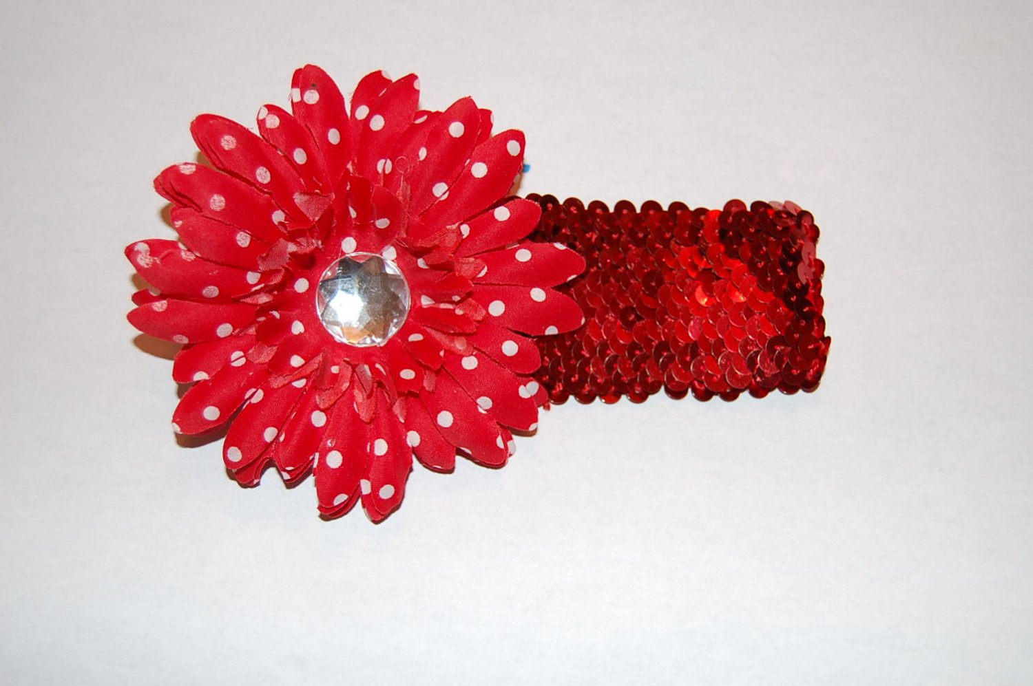 "4""Layered Daisy, 2"" Sequined Headband, Red Polka Dot/Red"