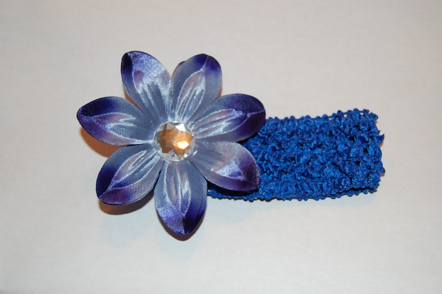 Tropical Lilly, Crocheted Headband, Two Toned Blue/ Royal Blue