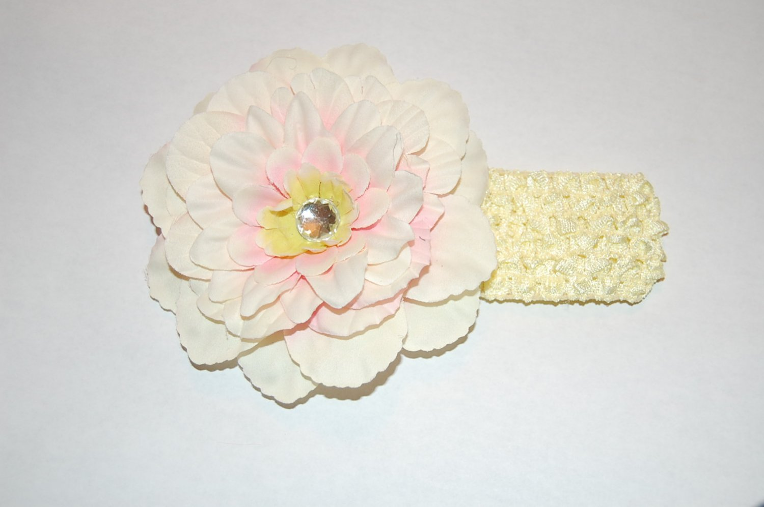"4"" Peony, Crocheted Headband, Pink/White/Yellow/ Pale Yellow"