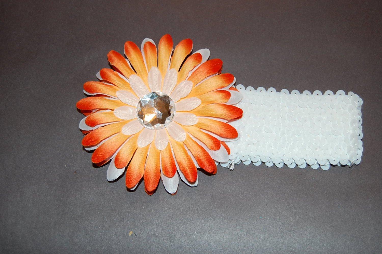 """4"""" Sunshine Daisy, 2"""" Sequined Headband, Orange Mix/White"""