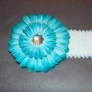 """4"""" Flat Daisy, Sequined Headband, Turquoise/White/White"""