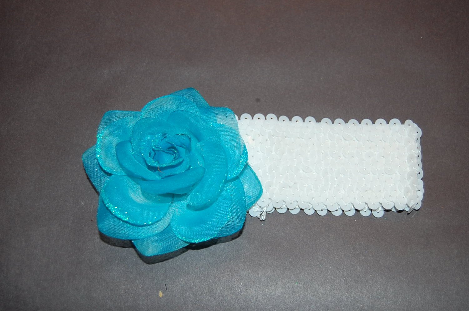 "Glitter Rose, 2"" Sequined Headband, Turquoise/White"