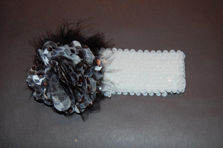 "Satin Mesh Leopard, Marabou, 2 ""Sequined Headband, Leopard/White"