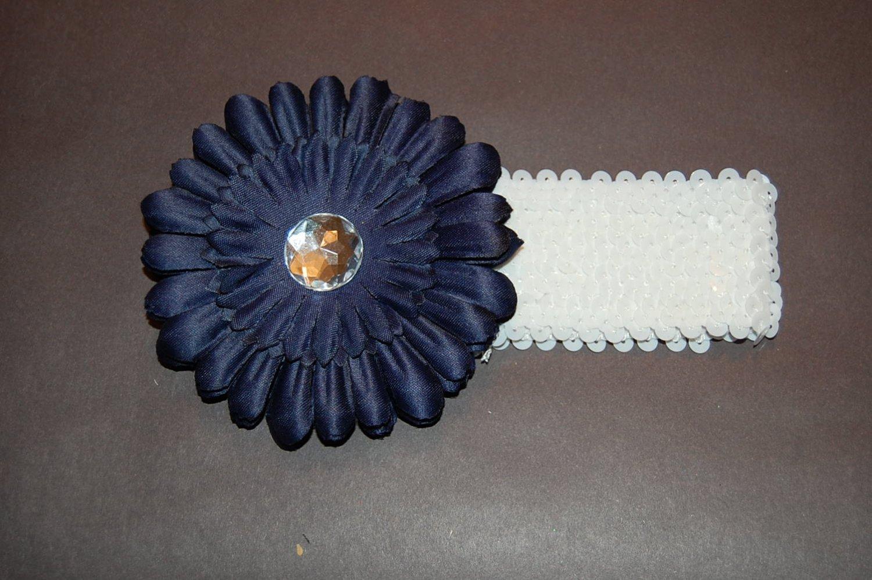 """4"""" Flat Daisy, 2"""" Sequined Headband, Navy/White"""