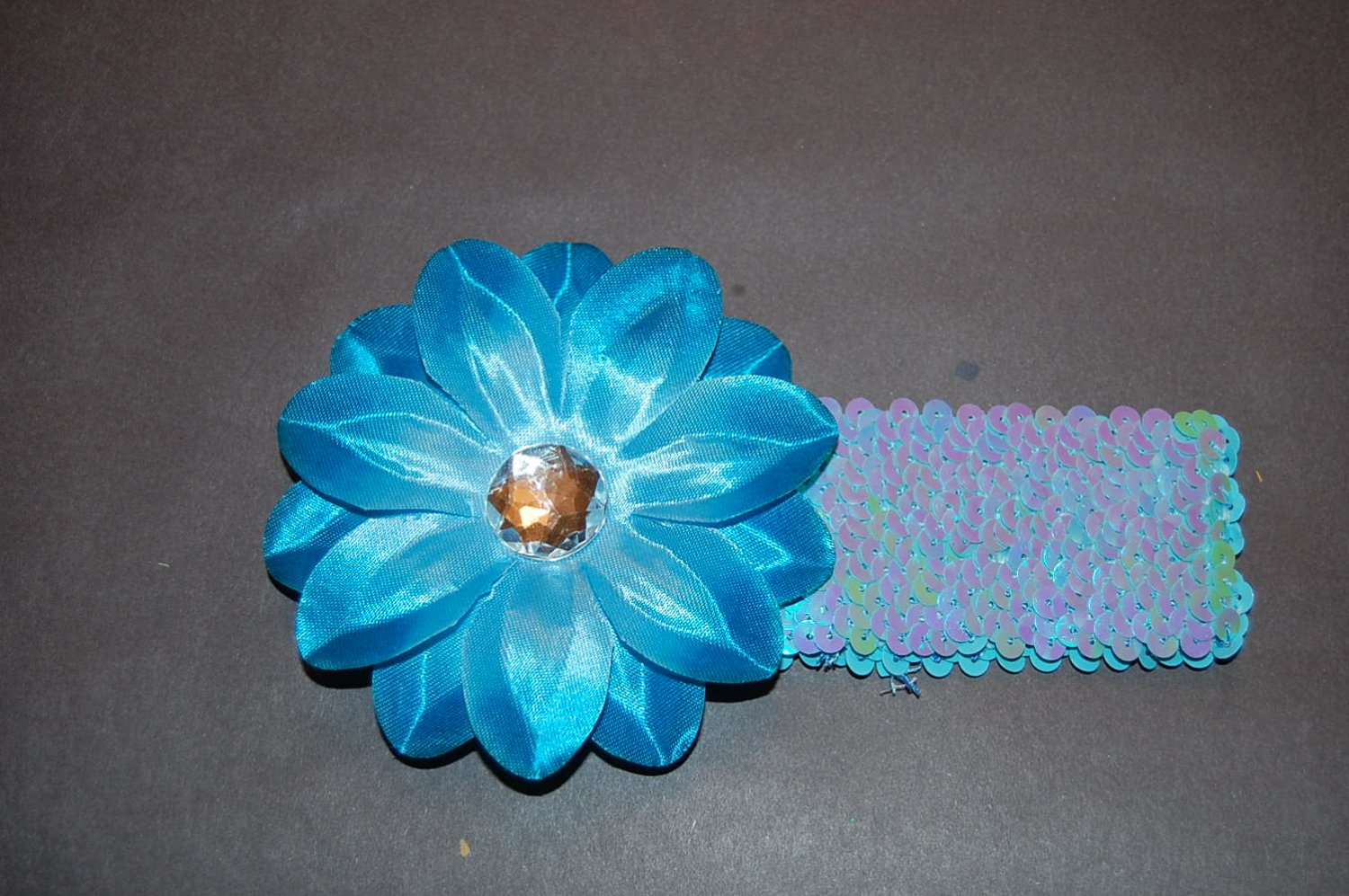 """4"""" Tropical Lilly, 2"""" Sequined Headband, Blue/Blue"""