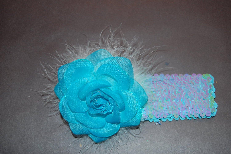 "Glitter Rose, Marabou, 2"" Sequined Headband, Blue/Blue"