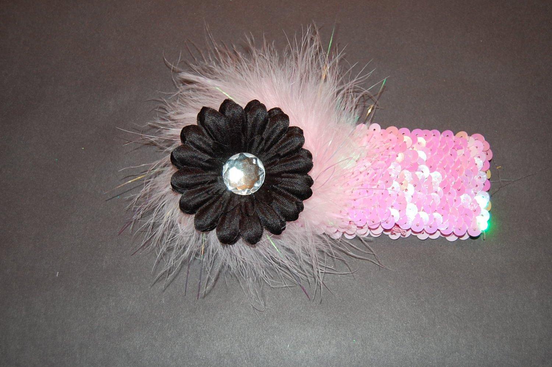 "2"" Flat Daisy, Marabou, 2"" Sequined Headband, Black/Pink"