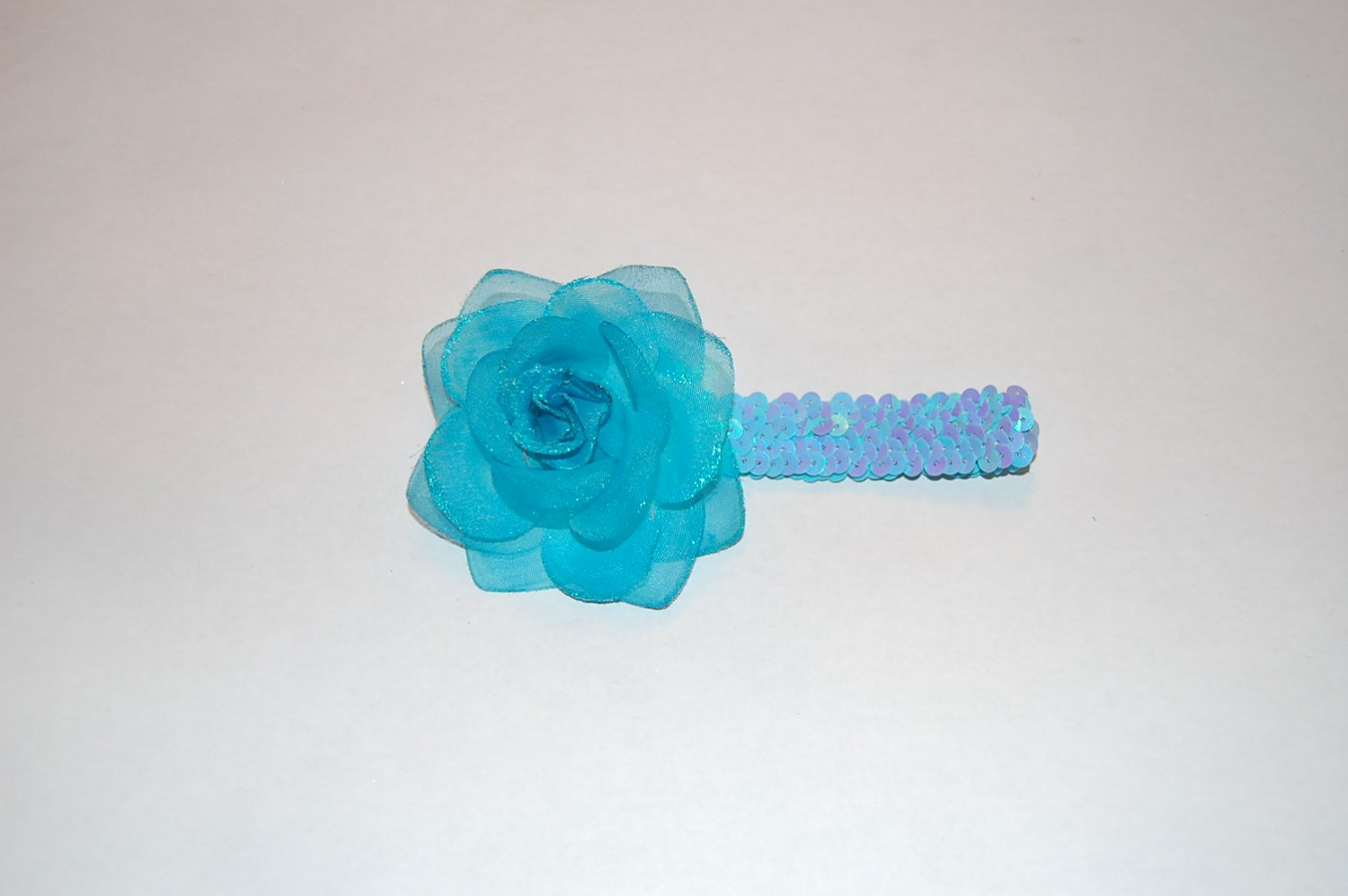"Glitter Rose, 1"" Sequined Headband, Blue/Blue"