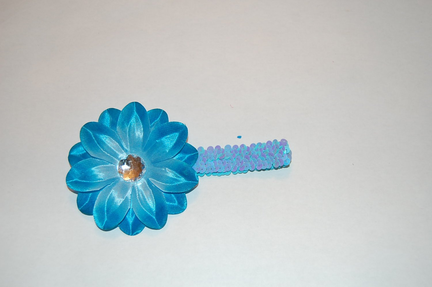 """4"""" Tropical Lilly, 1"""" Sequined Headband, Blue/blue"""