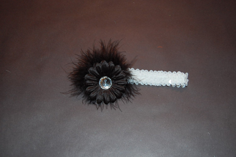 "2"" Flat Daisy, with Black Marabou,1"" Sequin Headband, Black/white"