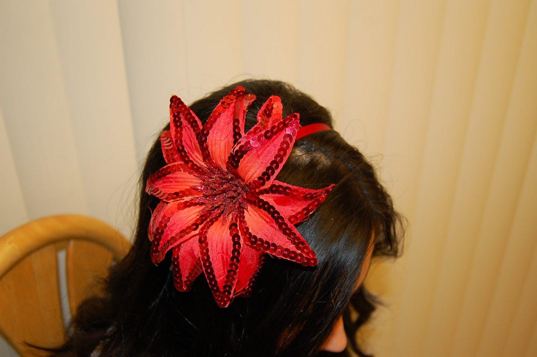 Hard Headband, Satin Finish, Sequin Fire Flower, Red/ Red