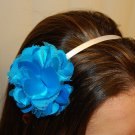 Hard Headband, Satin Finish, Satin Mesh Flower, Turquoise/ White