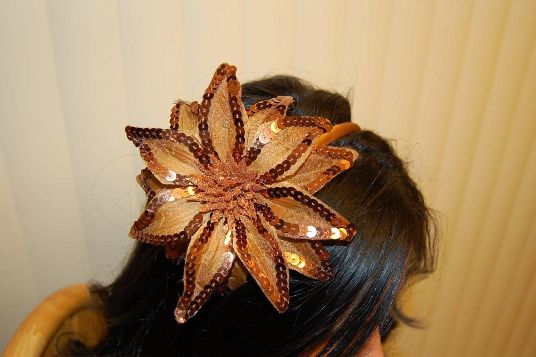 Hard Headband, Satin Finish, Sequin Fire Flower, Toffee/ Gold