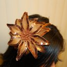 Hard Headband, Satin Finish, Sequin Fire Flower, Toffee/ Gold