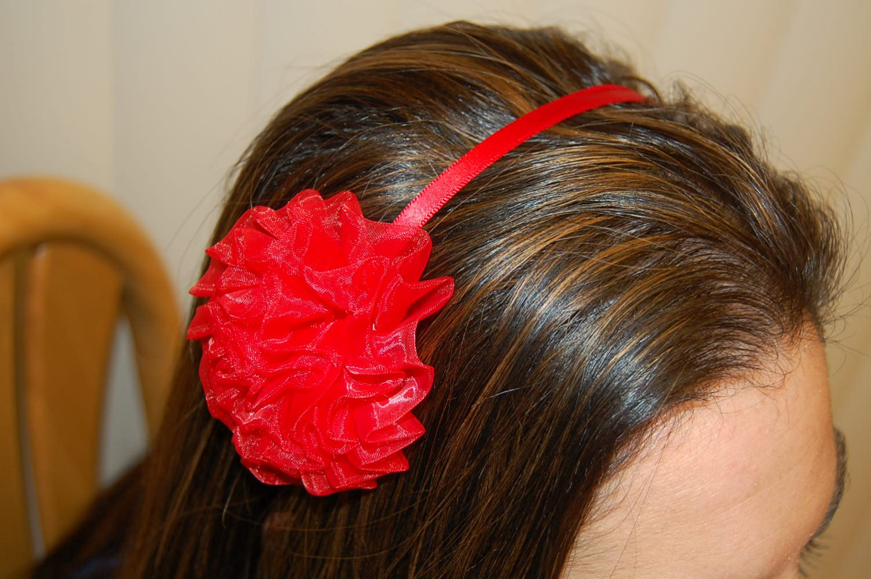 Hard Headband, Satin Finish, Chiffon Rosette, Red/Red