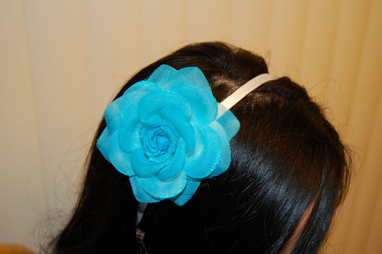 Hard Headband, Satin Finish, Glitter Rose, Turquoise/White