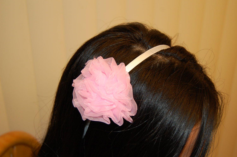 Hard Headband, Satin Finish, Chiffon Rosette, Pink/White