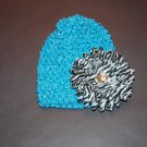 "Crocheted Hat, 4""  Daisy, Black/ White Zebra/Blue"