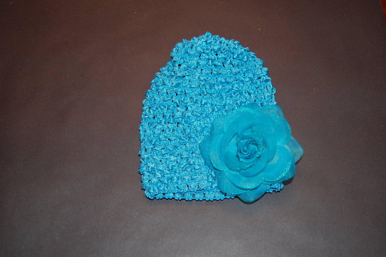 Crocheted Hat, Glitter Rose, Turquoise/Blue