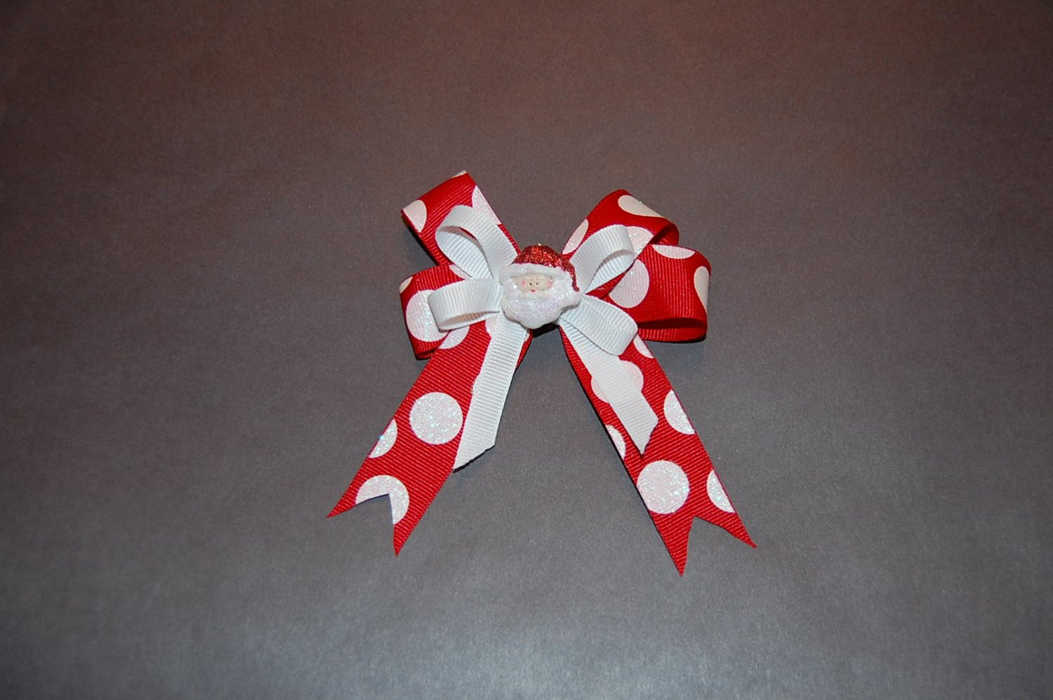 Layered Ribbon Hairclip, Red Print/White, Charm Center