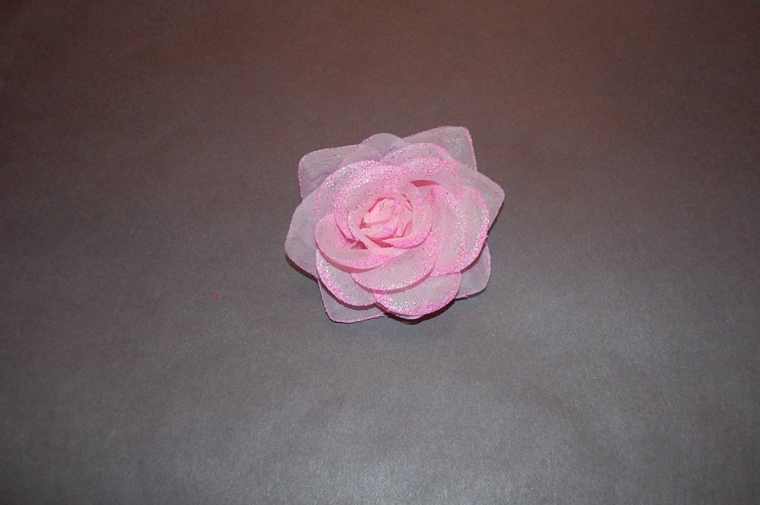 Glitter Rose on Alligator Clip, Pink
