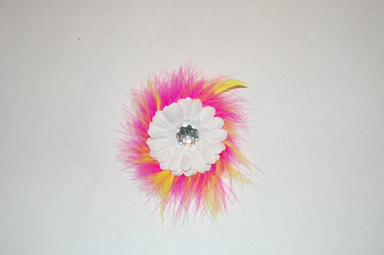 "2 "" Daisy, Marabou, on Alligator Clip, White/Pink/Yellow"