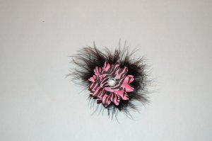 "2 "" Daisy, Marabou, on Alligator Clip, Pink Zebra/Black"