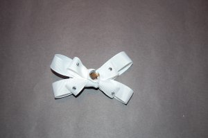 "Boutique Bow,4"", Jeweled Center, Embellished, Alligator Clip, White"