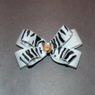 "Layered Boutique Bow,4"", Gem Center, White/Black Zebra, Alligator clip"