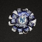 "NY Yankees 3"" loopy bottle cap bow, blue/white"