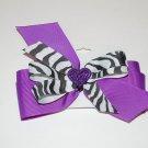 "Bow Clip,5"" layered,glitter heart bow, zebra/purple"