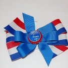 "Bow Clip,5"" layered, bottle cap bow,red/white/blue, holiday"